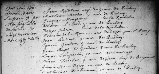 Extrait. Registre des confirmations. 23 mars 1664. (Source : Fonds Drouin en ligne. Registre des confirmations. Archives de l'Archidiocèse de Québec. 1659-1725. p. 25)