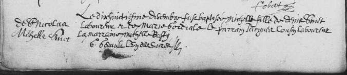 Acte de baptême de Michelle Sinet. 18 décembre 1633. (Source : AD17. Ms 253. La Rochelle. Paroisse Sainte-Marguerite. Baptêmes. 1620-1639, folio 131v)