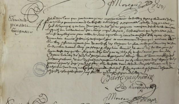 Contrat d'engagement de Jean Pinsard pour le Canada. 2 mai 1658. (Source : AD17. Notaire Pierre Moreau. Registre 3 E 59/263, fol. 122v)