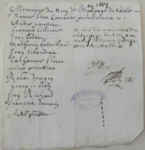 Rôle d'équipage de la barque L'Eau courante (60 tx) pour Terre-Neuve. 1663. (Source : AD17. Fonds Amirauté de La Rochelle. Documents du greffe. B 5664, fol. 206 (anciennement pièce 140).
