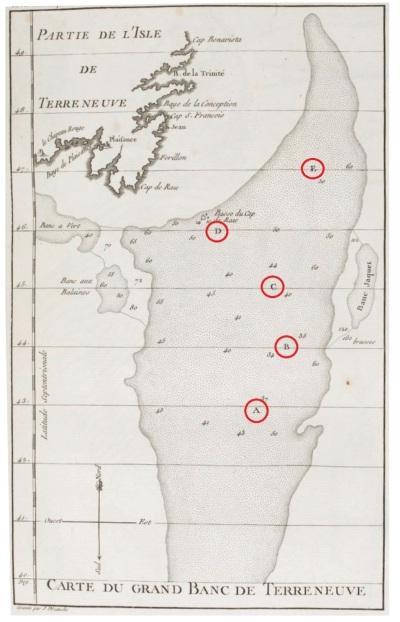 Plan détaillé du Grand Banc de Terre-Neuve. Planche II. (Source : Duhamel du Monceau, Traité général des pesches (seconde partie), Paris, Saillant & Nyon, 1772)