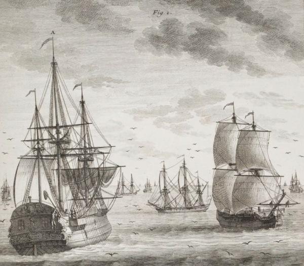 Plusieurs navires, petits et gros, appareillés à la pêche à la morue verte. Planche VI. (Source : Duhamel du Monceau, Traité général des pesches (seconde partie), Paris, Saillant & Nyon, 1772)