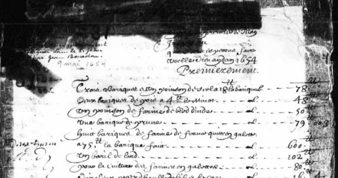 Extrait. Mémoire de ce que Jean Bourdon a fait embarquer sur le navire Le Petit Saint-Jean. 9 mai 1654. (Source : BAnQ. TL5, D31. Collection Pièces judiciaires et notariales)