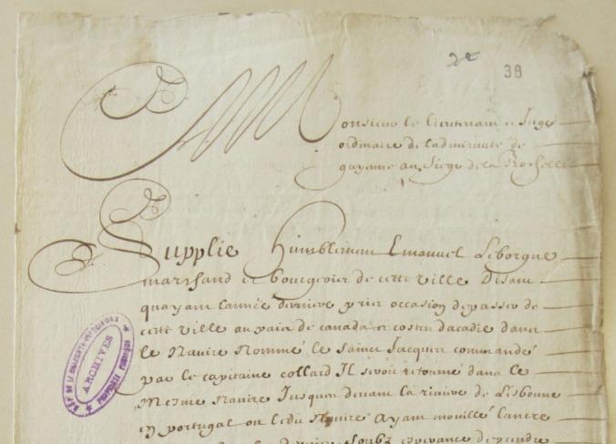 Extrait. Requête d'Emmanuel Le Borgne. 17 février 1656. (Source : AD17. Fonds Amirauté de La Rochelle. Documents du greffe. B 5662, fol. 38).