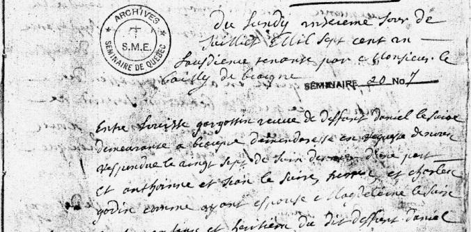 Extrait du procès-verbal du 11 juillet 1701 du bailliage de Beaupré. (Source : Fonds Séminaire de Québec, Série SME4, Séminaire 20, no.7, p. 19)