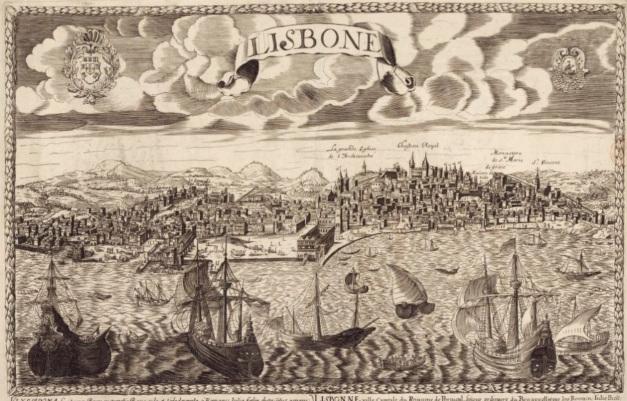 Extrait. Lisbonne. Vues en perspective. Auteur : François Jollain (1641-1704). (Source : Bibliothèque nationale de France, département Cartes et plans, GE D-8746)