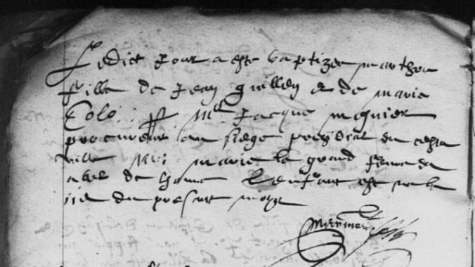 Acte de baptême de Marthe Guilhen. 17 janvier 1610. (Source : AD17 en ligne. I 159. La Rochelle. Baptêmes. Grand Temple. 1610-1622. Vue 5/169 )