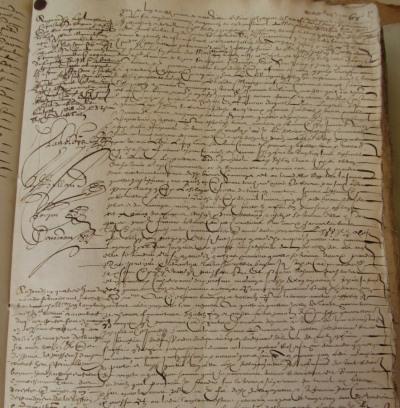 Extrait. Contrat de mariage entre Jean Langlois et Renée-Marie Joslain. 6 mai 1626. (Source : AD17. Notaire Jacques Cousseau. Registre 3 E 223, fol. 67r. 6 mai 1626)