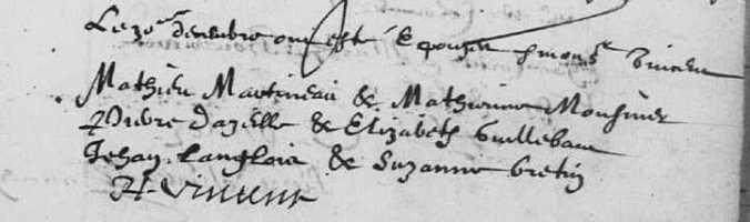 Acte de mariage de Jean Langlois et de Suzanne Bertin. décembre 1631. (Source : Ad17 en ligne. I169. La Rochelle. Baptêmes. Mariages. Réceptions. Temple de la Villeneuve. 1630-1632. Vue 69/87)