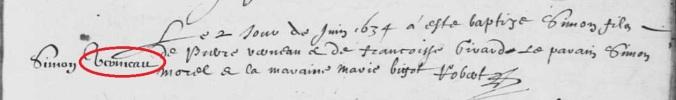 Acte de baptême de Simon Vreigneau (et non Vermeau). 2 juin 1634. (Source : AD17. Ms 253. La Rochelle. Paroisse Sainte-Marguerite. Baptêmes. 1620-1639, folio 72v)