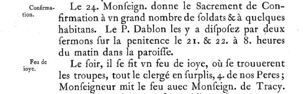 Extrait. Journal des Jésuites. 24 août 1665. (Source : Abbés Laverdière et Casgrain, Le Journal des Jésuites, Québec, Léger Brousseau, 1871, p. 334)