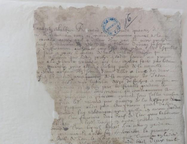 Extrait. Contrat d'engagement de Pierre Porchet, laboureur à bœufs, et Martine Duruau, son épouse, de La Rochelle, pour Québec. 12 avril 1647. (Source : AD17. Notaire Pierre Teuleron. Registre 3E1370bis, pièce 16)