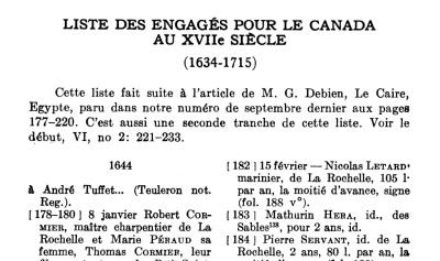 Extrait. Liste des engagés pour le Canada au XVIIe siècle (1634-1715), p. 374. (Source : Debien, Gabriel. « Liste des engagés pour le Canada au XVIIe siècle (1634-1715) » dans RHAF, vol. 6, no 3, décembre 1952, p. 374-407).