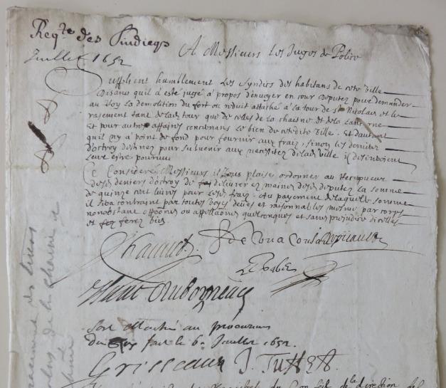 Requête du syndic des habitants de La Rochelle pour le rasement des tours. 6 juillet 1652. (Source : AM17. DDARCHANC69. Divers travaux. 1652)