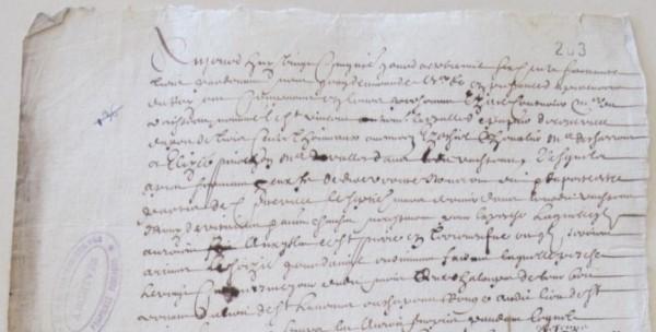 Extrait. Rapport de trois mariniers concernant le voyage de pêche de la flûte Le Saint-Vincent à Terre-Neuve. 25 octobre 1663. (Source : AD17. Fonds Amirauté de La Rochelle. Documents du greffe. B5664, pièce 203)