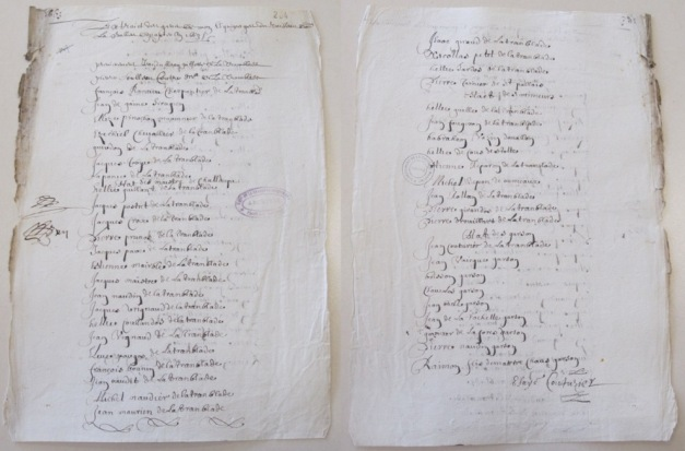 Rôle d'équipage de la flûte Le Saint-Vincent (300 tx) pour Terre-Neuve. 1663. (Source : AD17. Fonds Amirauté de La Rochelle. Documents du greffe. B 5664, fol. 204 (anciennement pièce 137)