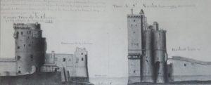 Coupes, profils et élévation des tours de la Chaîne et Saint-Nicolas. (Source : Claude Masse, Recueil des plans de La Rochelle, La Rochelle, éditions Rupella, 1979, feuille 53)