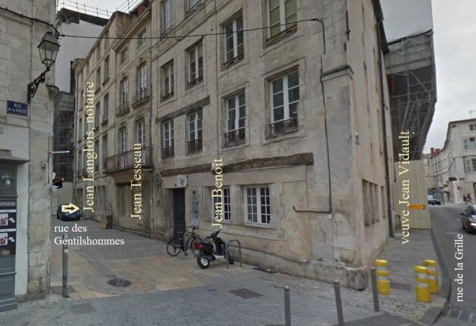 Emplacement de la maison-étude du notaire Jean Langlois avant le 25 décembre 1635. Rue des Gentilshommes, La Rochelle. (Source : Google Street View)