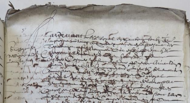 Extrait. Acte de vente d'Esther Cosmier à Jean Langlois. 10 mars 1639. (Source : AD17. Notaire Isaac Lambert. 3 E 20/199. 10 mars 1639)