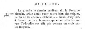 Extrait. Arrivée du navire La Fortune Blanche dans le journal des Jésuites. 5 octobre 1666. (Source : Abbés Laverdière et Casgrain, Le Journal des Jésuites, Québec, Léger Brousseau, 1871, p. 350)