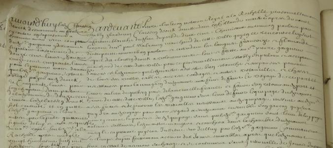 Extrait. Contrat de charte-partie pour l'expédition du navire La Fortune Blanche à Québec. 27 mai 1666. (Source : AD17. Notaire Pierre Teuleron. R 3E1304, fol. 93v)