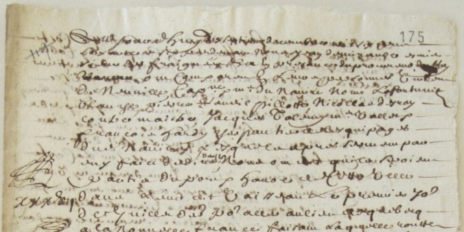 Extrait. Rapport de voyage du navire La Fortune Blanche pour Québec. 17 décembre 1666. (Source : AD17. Fonds Amirauté de La Rochelle. Documents du greffe. B 5667, fol. 175 (anciennement pièce 119)