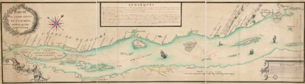 Partie du grand Fleuve de St Laurens depuis Quebec jusqu'à Tadoussac. (Source : Bibliothèque nationale de France, département Cartes et plans, GE SH 18 PF 126 DIV 2 P 11. Gallica)
