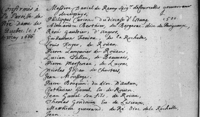 Extrait. Registre des confirmations. 1er mai 1666. (Source : Fonds Drouin en ligne. Registre des confirmations. Archives de l'Archidiocèse de Québec. 1659-1725. p. 46)