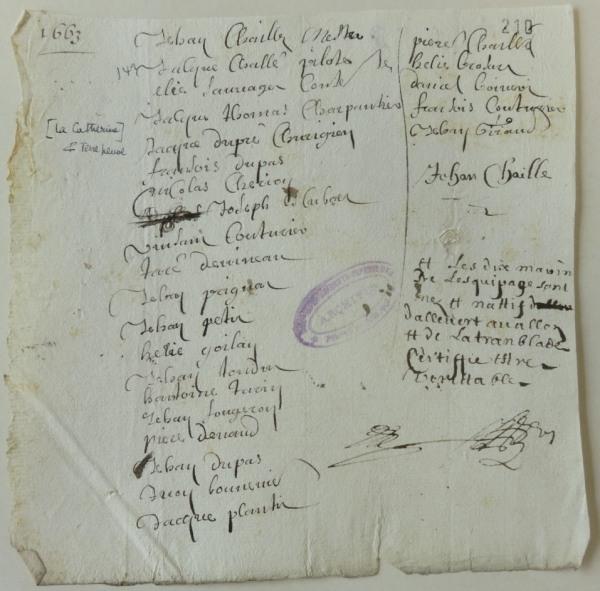Rôle d'équipage du navire La Catherine (100 tx) pour Terre-Neuve. 1663. (Source : AD17. Fonds Amirauté de La Rochelle. Documents du greffe. B 5664, fol. 210 (anciennement pièce 142)