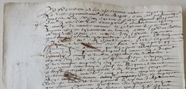 Extrait. Contrat de charte-partie pour l'expédition du navire La Catherine à Terre-Neuve. 23 février 1663. (Source : AD17. Notaire Abel Cherbonnier. 3E307)