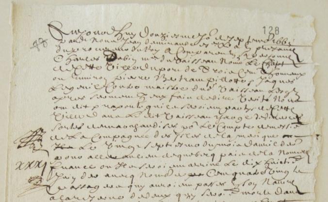 Extrait. Rapport de Charles Dabin, maître du navire Le Chat (300 tx), chargé de diverses marchandises pour le compte de la Compagnie des Îles de l'Amérique. 12 septembre 1665. (Source : AD17. Fonds Amirauté de La Rochelle. Documents du greffe. B 5667, fol. 128 (anciennement pièce 88).