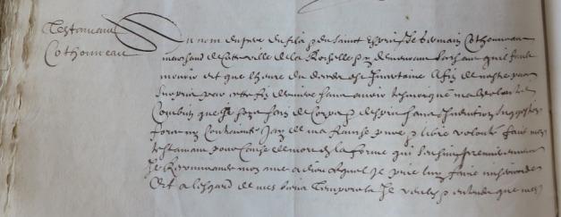 Extrait. Testament de Germain Cothonneau, marchand de La rochelle. 23 décembre 1651. (Source : AD17. Notaire Vespasien Lefebvre. Registre 3 E 2167. 23 décembre 1651)