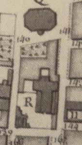Extrait. Emplacement de l'église Saint-Barthelémy (R) en 1689. Source : Claude Masse, Recueil des plans de La Rochelle, La Rochelle, éditions Rupella, 1979, feuille 23)
