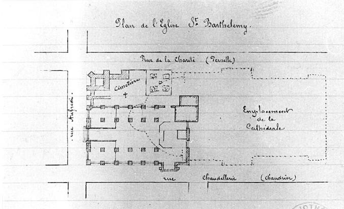 Plan de l'église Saint-Barthelémy, restitution vers 1889 de l'état de 1750. (Source : Inventaire général du patrimoine culturel. France. ADAGP. Auteur photo : Alain Dagorn)