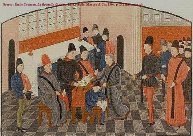 Le serment du maire dans l'église Saint-Barthelémy. Le maire agenouillé, la main sur Les Évangiles, est Jean Mérichon en 1468. Racines Rochelaises (version coloriée).