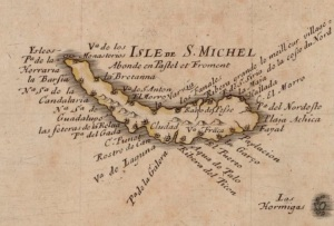 Extrait. L'île Saint-Michel, par Pierre Duval, cartographe. 1650-1659. (Source : Bibliothèque nationale de France, département Cartes et plans, GE DD-2987)