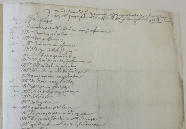 Extrait. Acte des créanciers et propriétaires du navire La Vierge. 6 mars 1652. (Source : AD17. Notaire Pierre Teuleron. Liasse 3 E 1370bis, fol. 78)