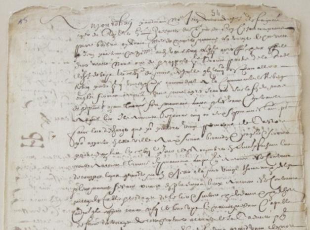 Extrait. Rapport de Pierre Boileau, maître du navire La Vierge (320 tx), sur son expédition à Québec et son naufrage à l'île Saint-Michel. 20 et 23 mars 1655. (Source : AD17. Fonds Amirauté de La Rochelle. Documents du greffe. B 5661, fol. 54 (anciennement pièce 15).