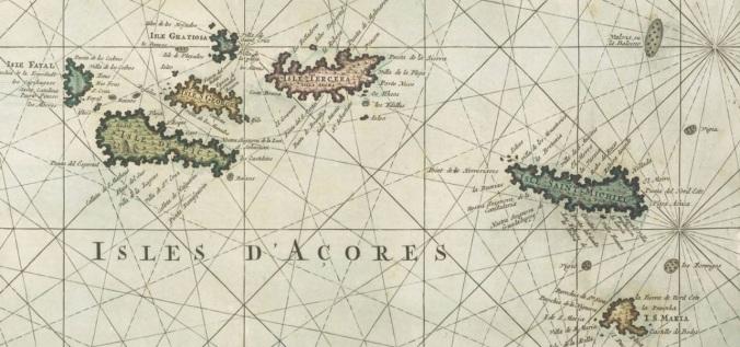 Extrait. Les îles d'Açores, par Romein De Hooge, cartographe. 1693. (Source : Bibliothèque nationale de France, départements Cartes et plans, GE DD-2987)