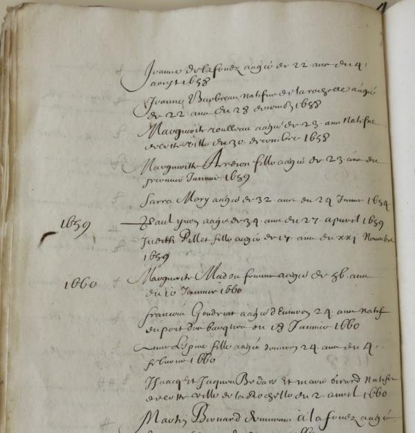 Extrait. Liste des convertis 1631-1661 [sic]. (Source : AM17. GG737. Protestantisme – Religion réformée)