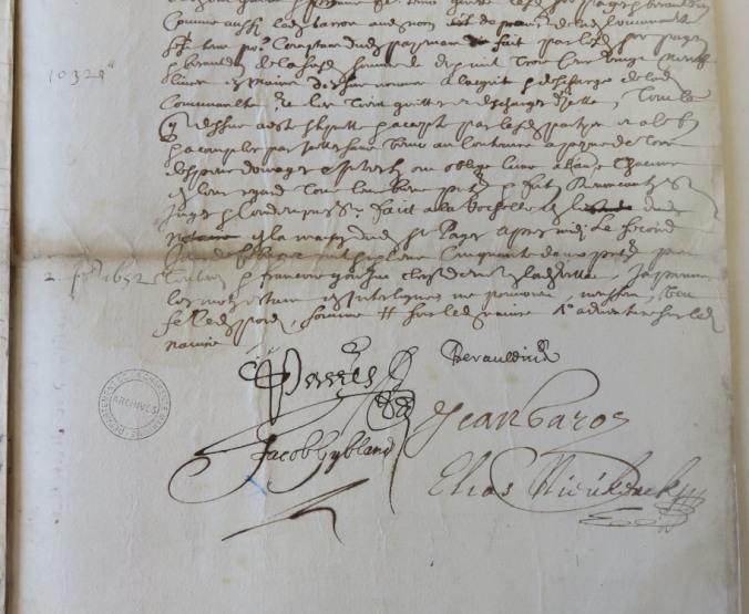 Extrait. Distribution de la somme de 10 329lt entre les créanciers aventureux du navire Le Passemoy. 2 février 1652. (Source : AD17. Notaire Pierre Teuleron. Liasse 3 E 1370bis, fol. 172 à 175 (anciennement pièce 79)