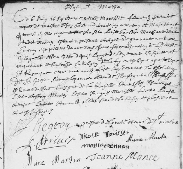 Acte d'abjuration de Nicole Morisset en 1659