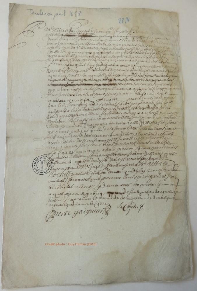 Contrat d'engagement de Louis Leconte pour le Canada. 28 avril 1668. (Source : AD17. Notaire Pierre Teuleron. Liasse 3E1357, pièce non cotée)