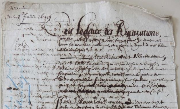 Extrait. Devis des réparations à faire au Palais royal de La Rochelle. 28 juillet 1649. (Source : AM17. DDARCHANC69. Travaux au Palais de justice)