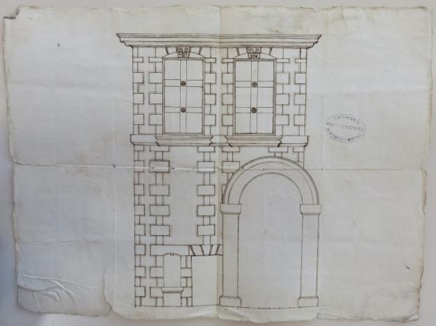 Dessin annexé au marché de maçonnerie du 16 novembre 1662. (Source : AD17. Notaire Jean Michelon. Liasse 3 E 2319)