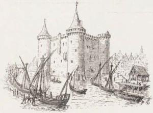 Le château Vauclair. Construit vers 1130, dès l'édification de la première enceinte. (Source : Émile Couneau, La Rochelle disparue, La Rochelle, Masson & Cie, 1904, p. 2)