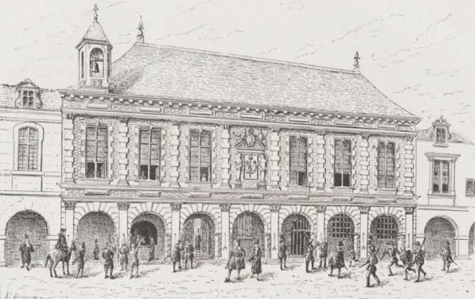 L'hôtel du Présidial (dessin de Claude Masse) (Source : Émile Couneau, La Rochelle disparue, La Rochelle, Masson & Cie, 1904, p. 319)