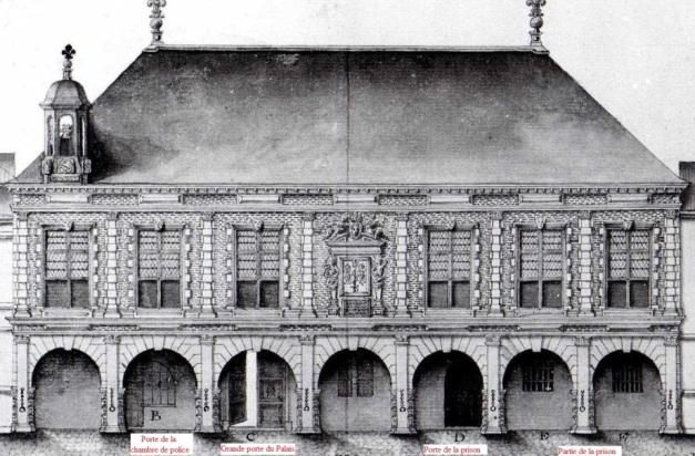 Façade et élévation du Palais royal (Source : Claude Masse, Recueil des plans de La Rochelle, La Rochelle, éditions Rupella, 1979, feuille 61)