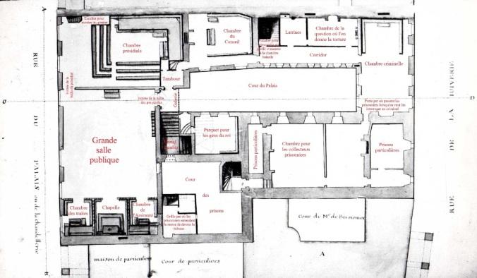 Plan du premier étage du Palais royal (Source : Claude Masse, Recueil des plans de La Rochelle, La Rochelle, éditions Rupella, 1979, feuille 62a)