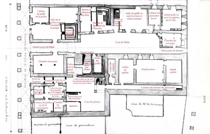 Plan du rez-de-chaussée du Palais royal (Source : Claude Masse, Recueil des plans de La Rochelle, La Rochelle, éditions Rupella, 1979, feuille 62b)